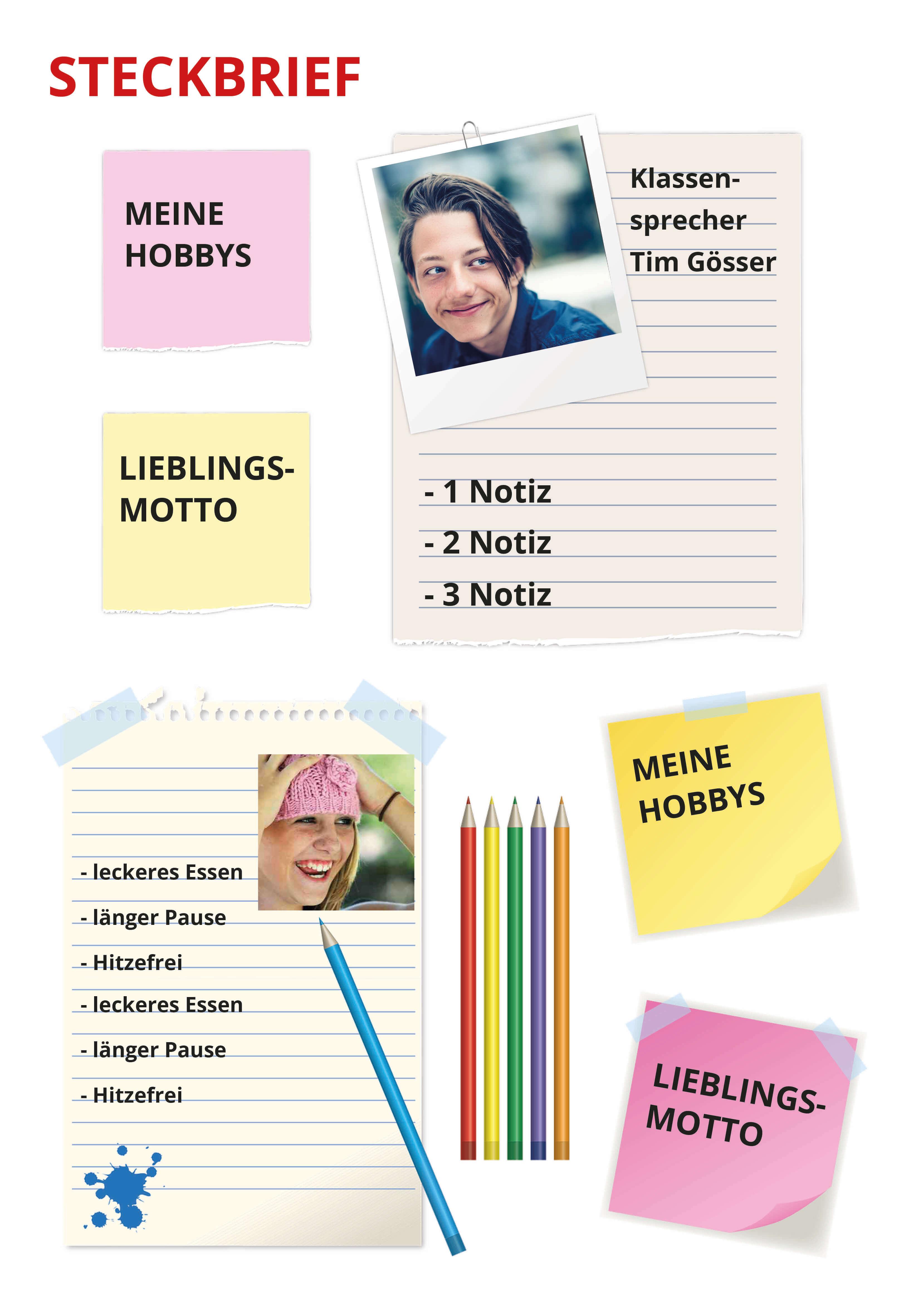 Steckbrief für die Abschlusszeitung einer Grundschule