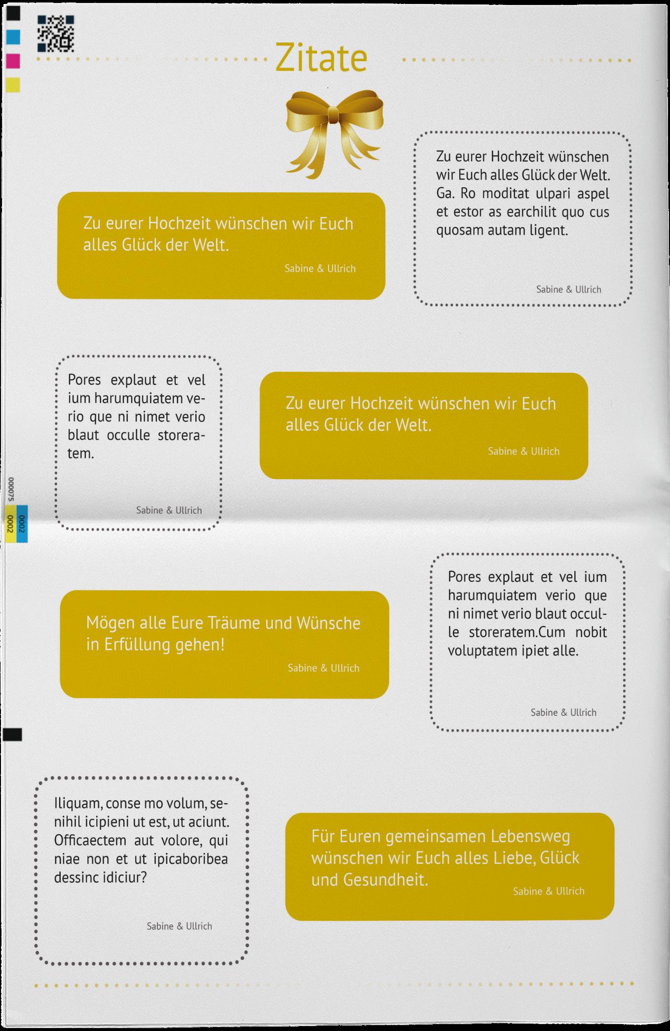 Beispiel für eine Zitat-Collage in einer Hochzeitszeitung zur Goldenen Hochzeit