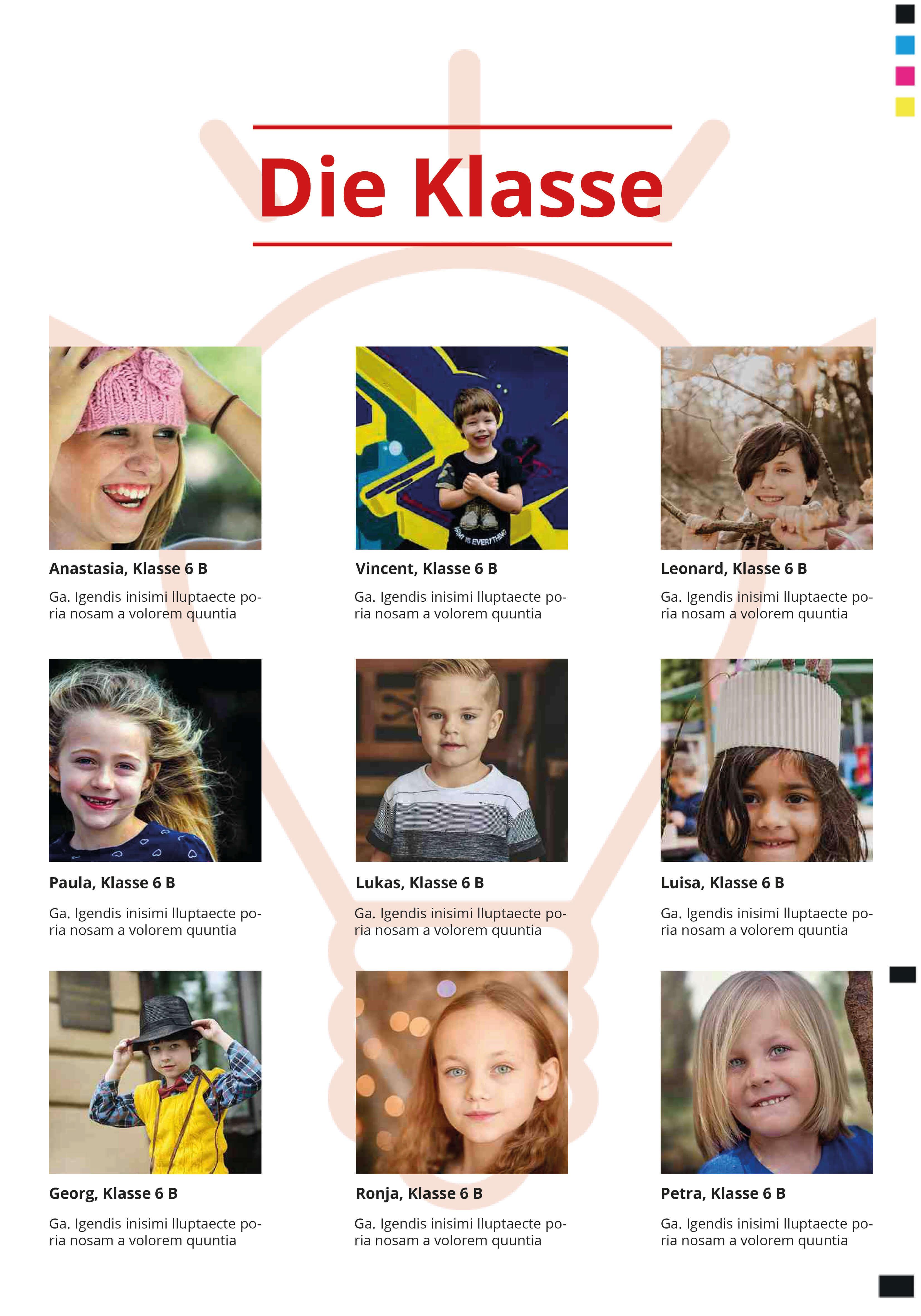 Klassenporträt für die Abschlusszeitung für Grundschule