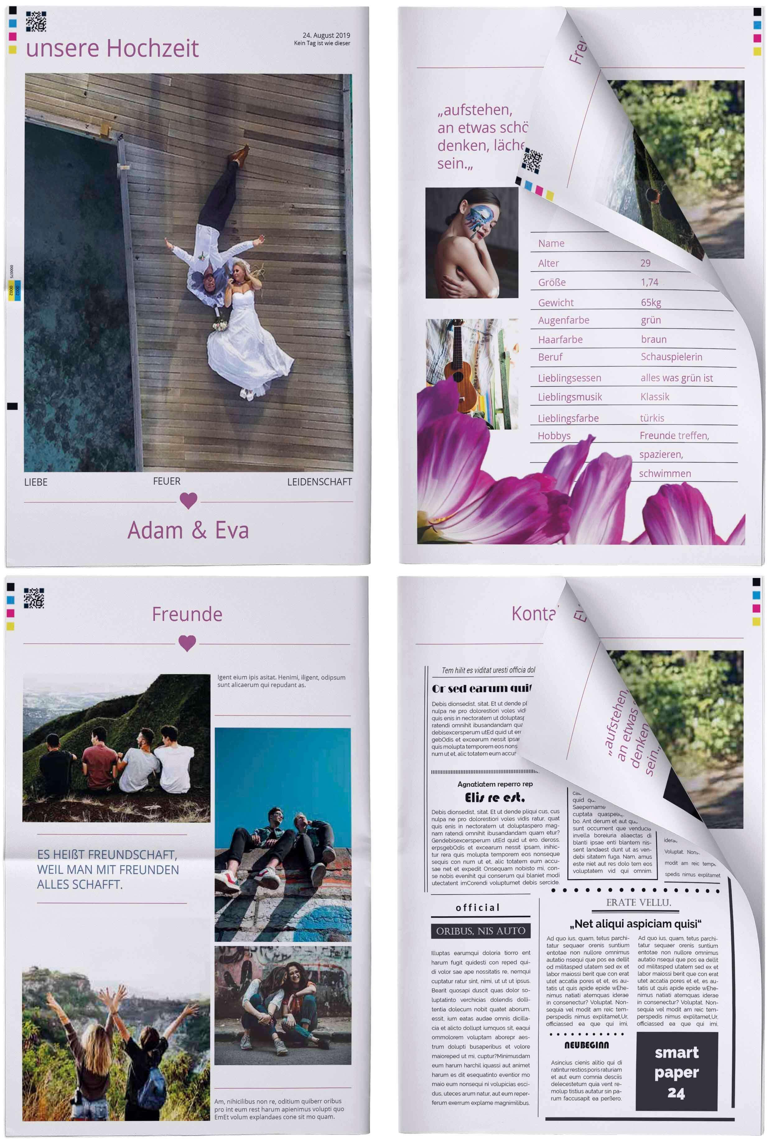 Beispiele und Beispielseiten für Hochzeitszeitungen