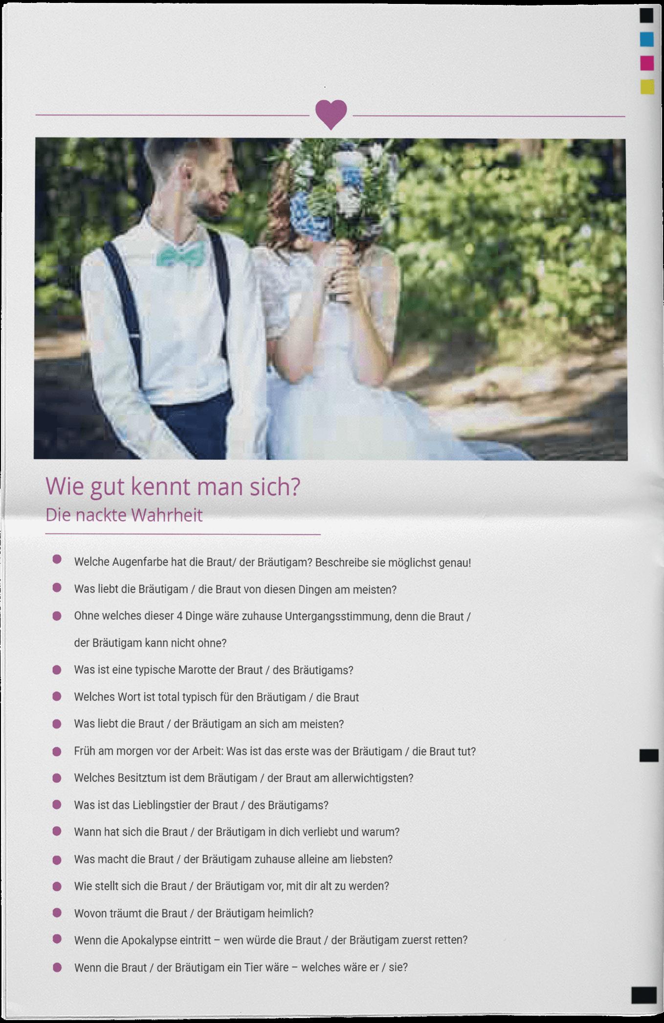 Beispiel für ein Hochzeitsquiz in einer modernen Hochzeitszeitung