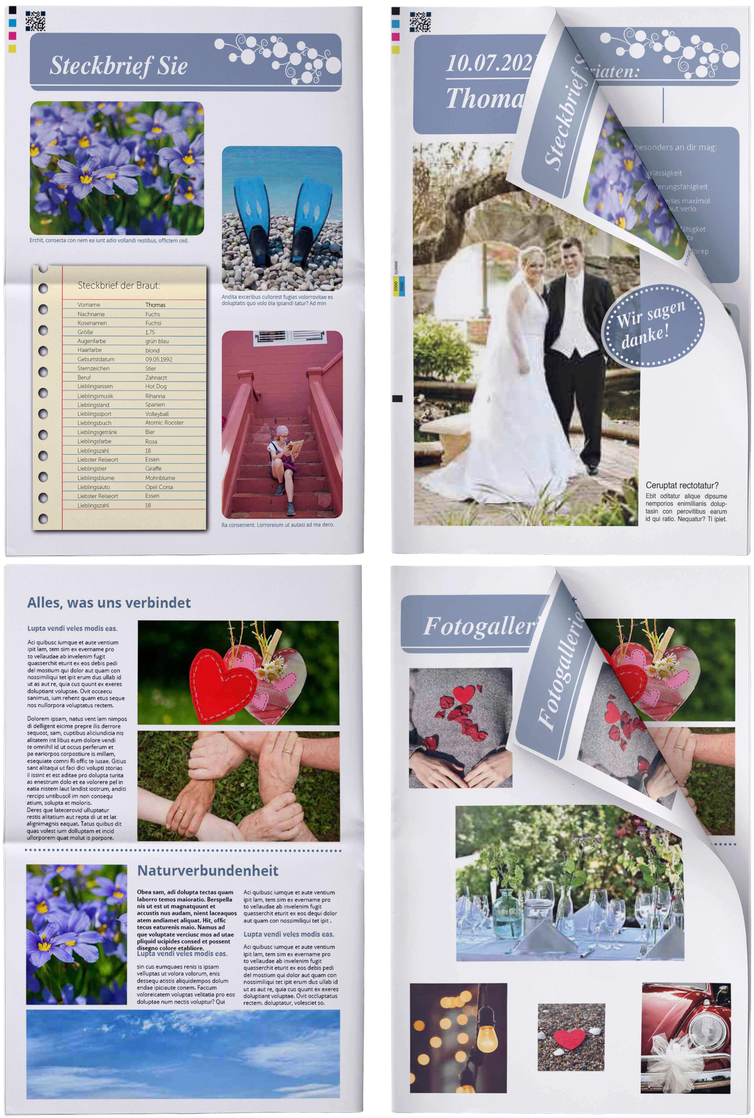 Beispiele und Ideen für eine Hochzeitszeitung