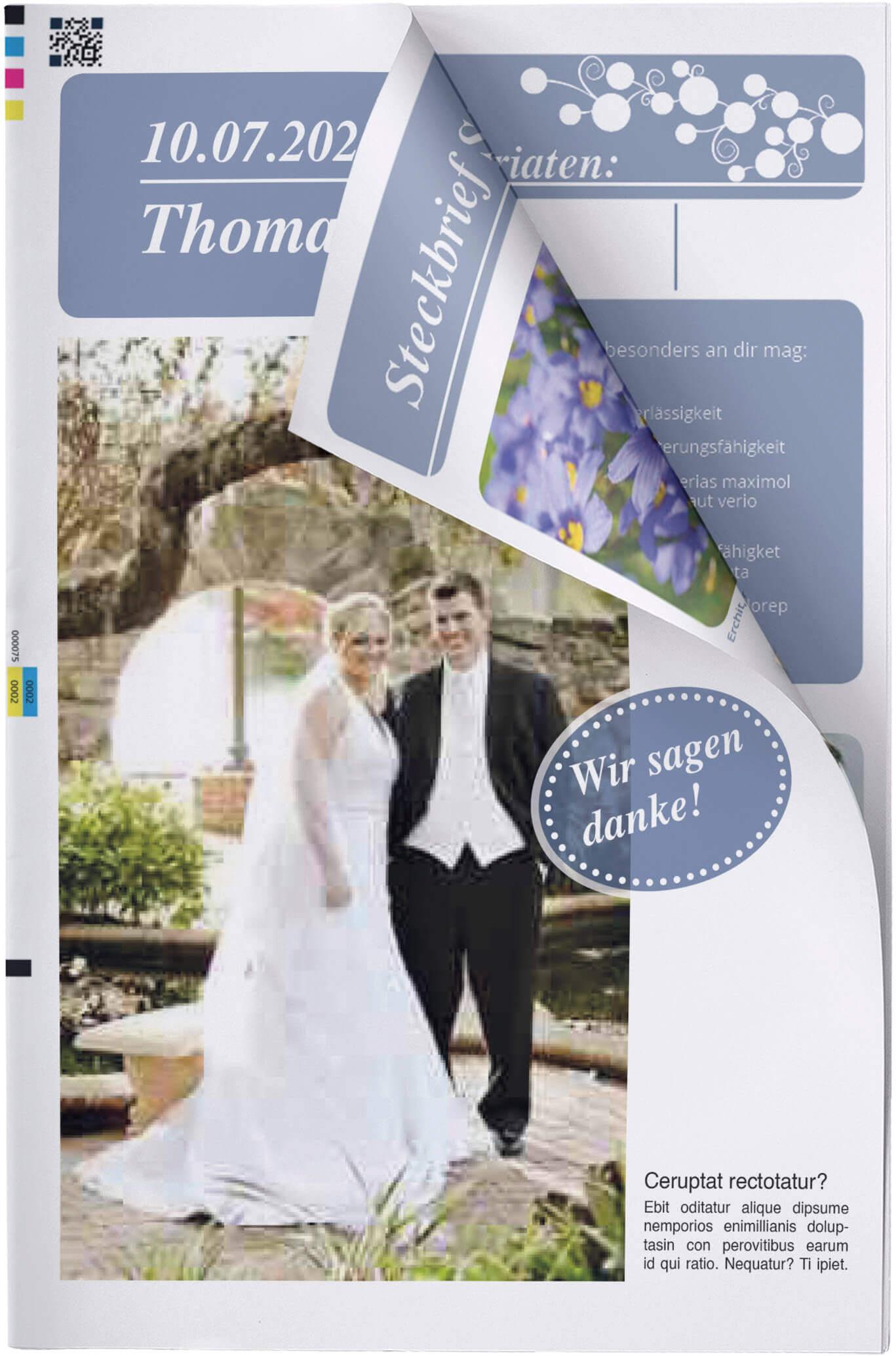 Titelblatt einer eigenen Hochzeitszeitung mit Seitenknick
