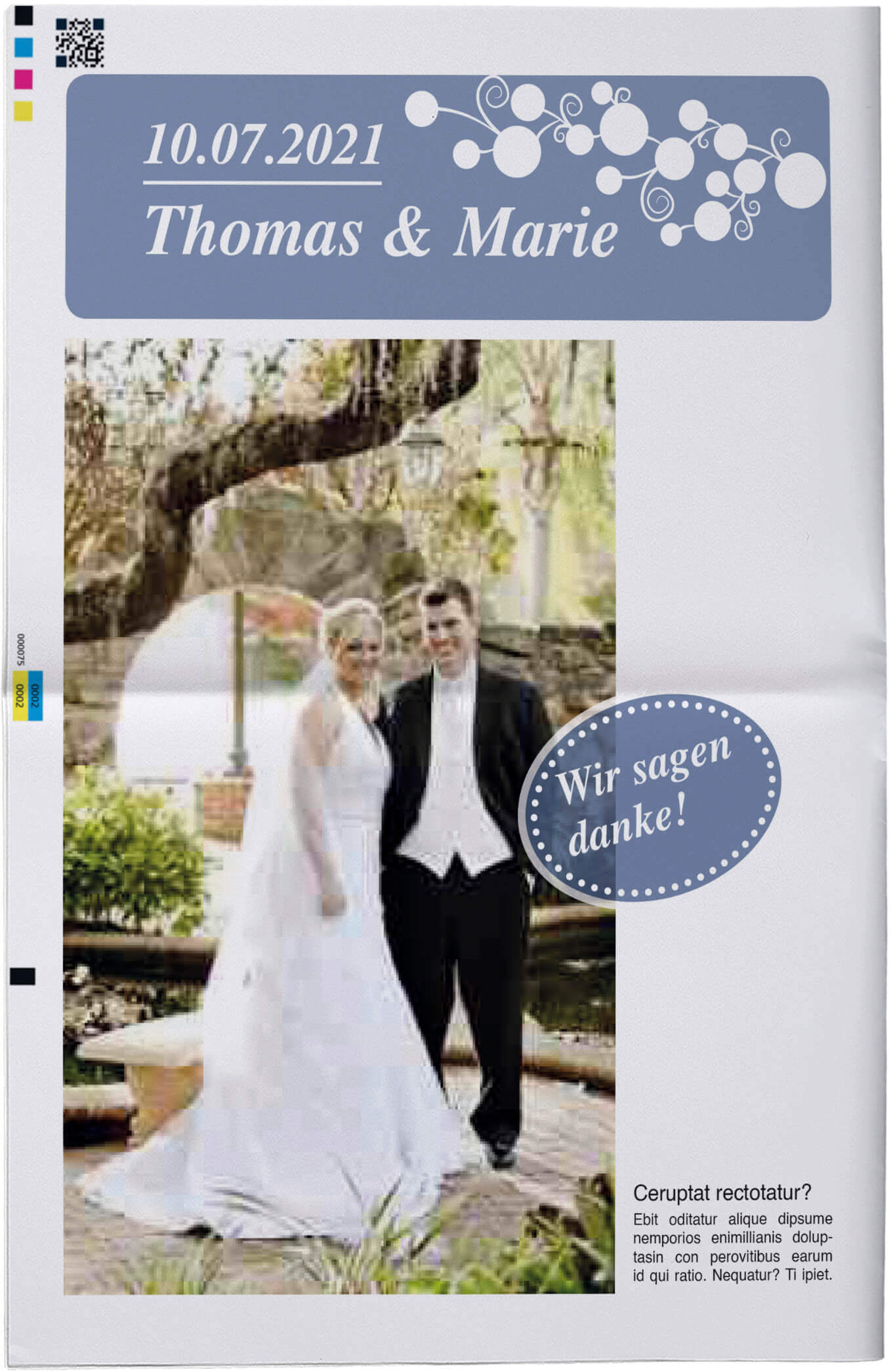 Titelblatt einer echten Hochzeitszeitung mit Designbeispielen