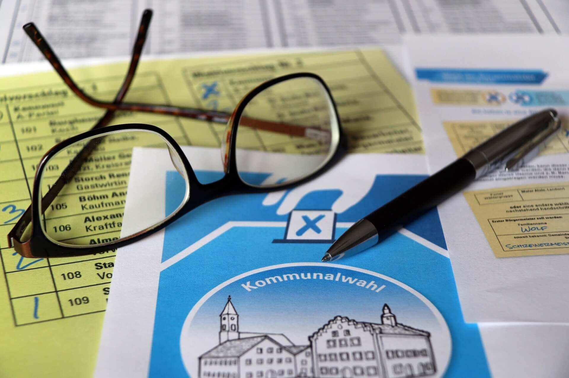 Wahlzettel für Kommunalwahlen