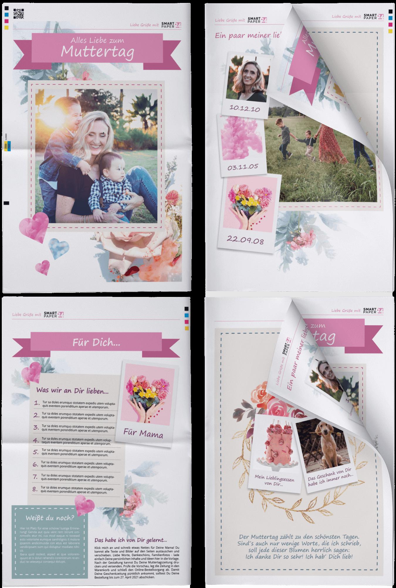 Muttertagszeitung mit eigenen Texten und Fotos für Mama gestalten