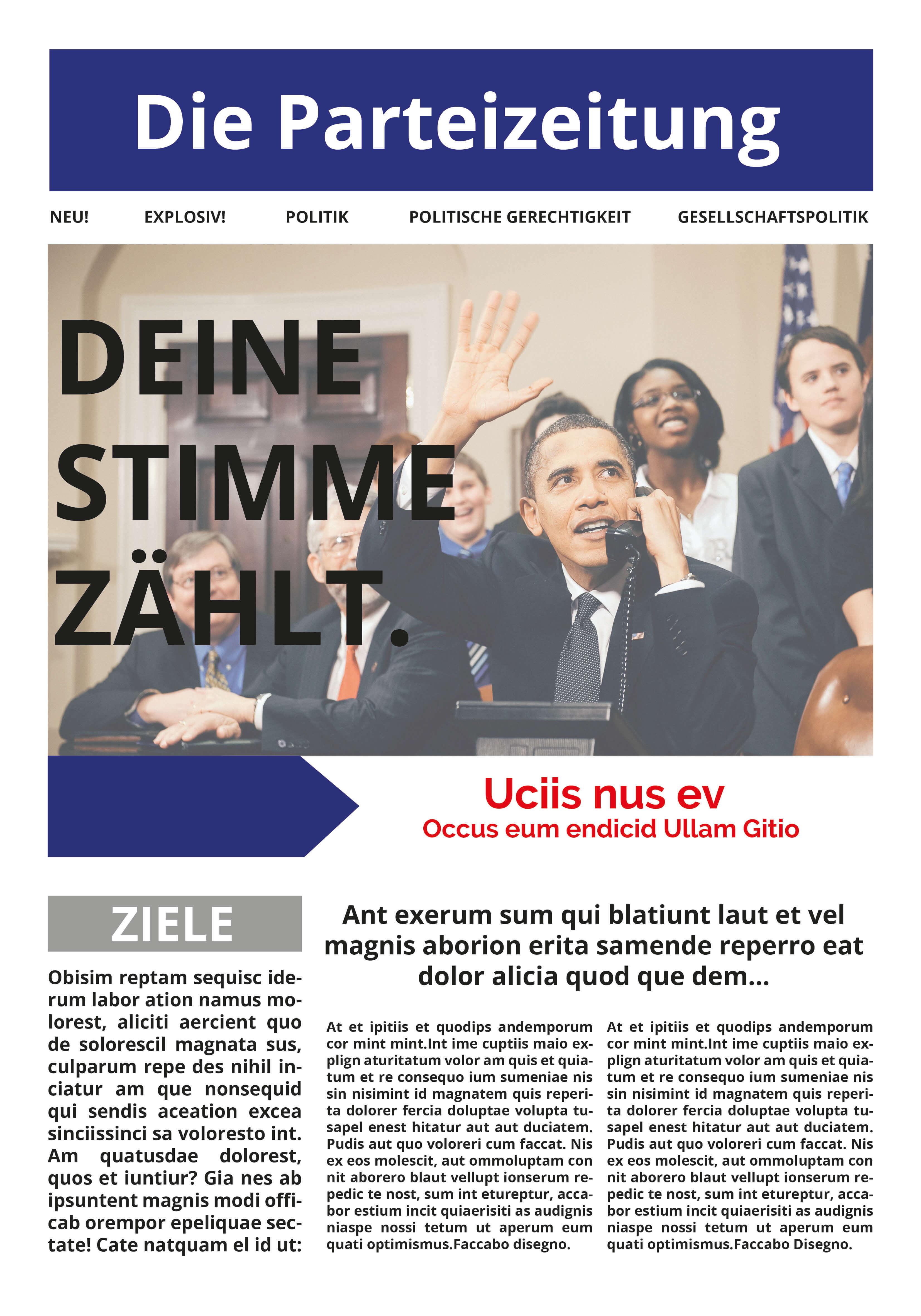 Klassische Parteizeitung als Wahlwerbung gestalten
