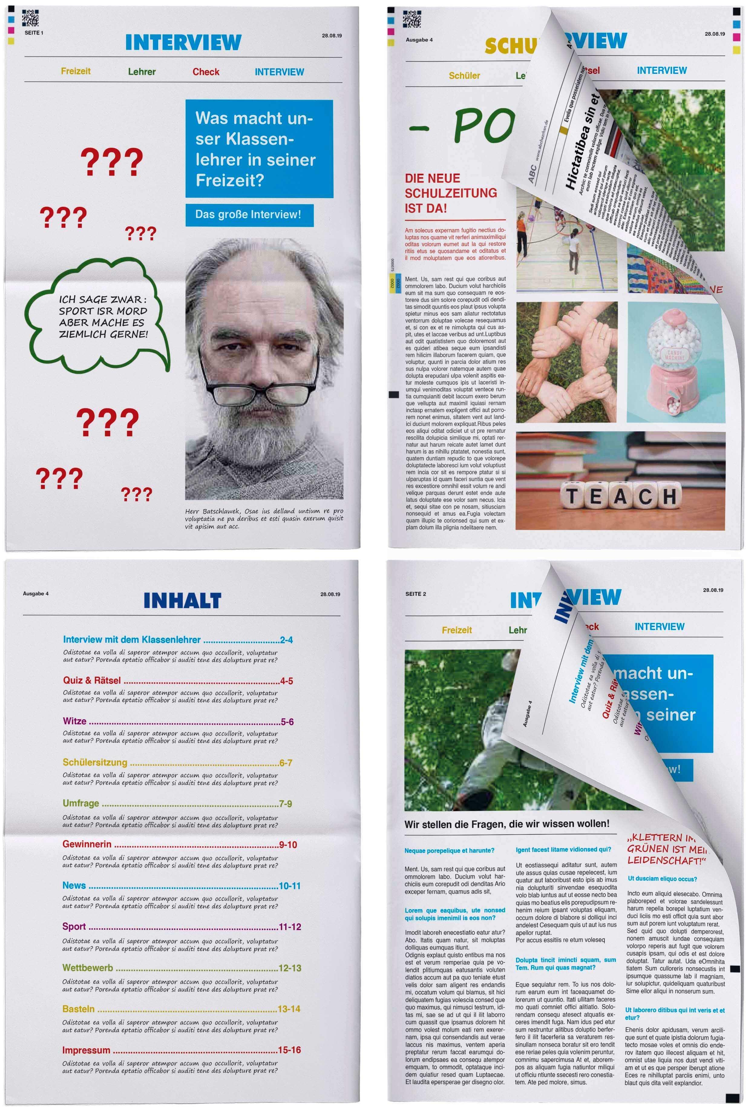 Layouts fuer Schuelerzeitung im Designer gestalten