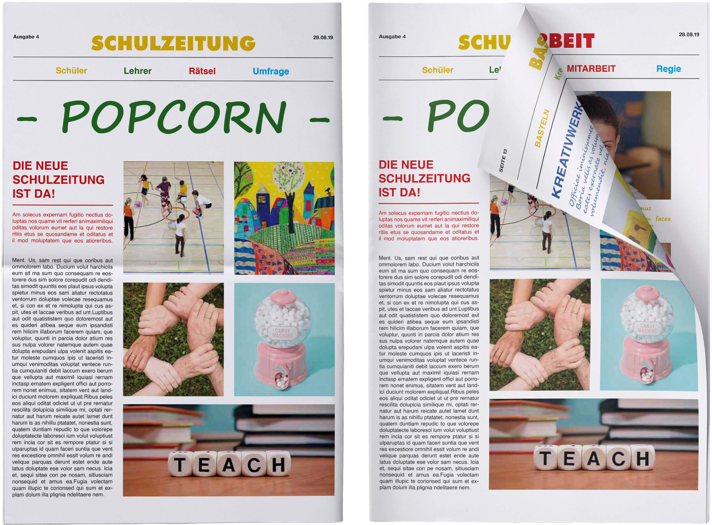 Schuelerzeitung Titelseite geknickt und ungeknickt