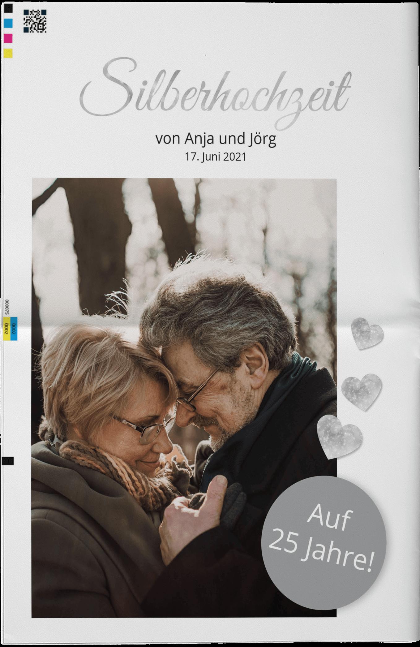 Beispiel für die Titelseite einer Hochzeitszeitung zur Silbernen Hochzeit