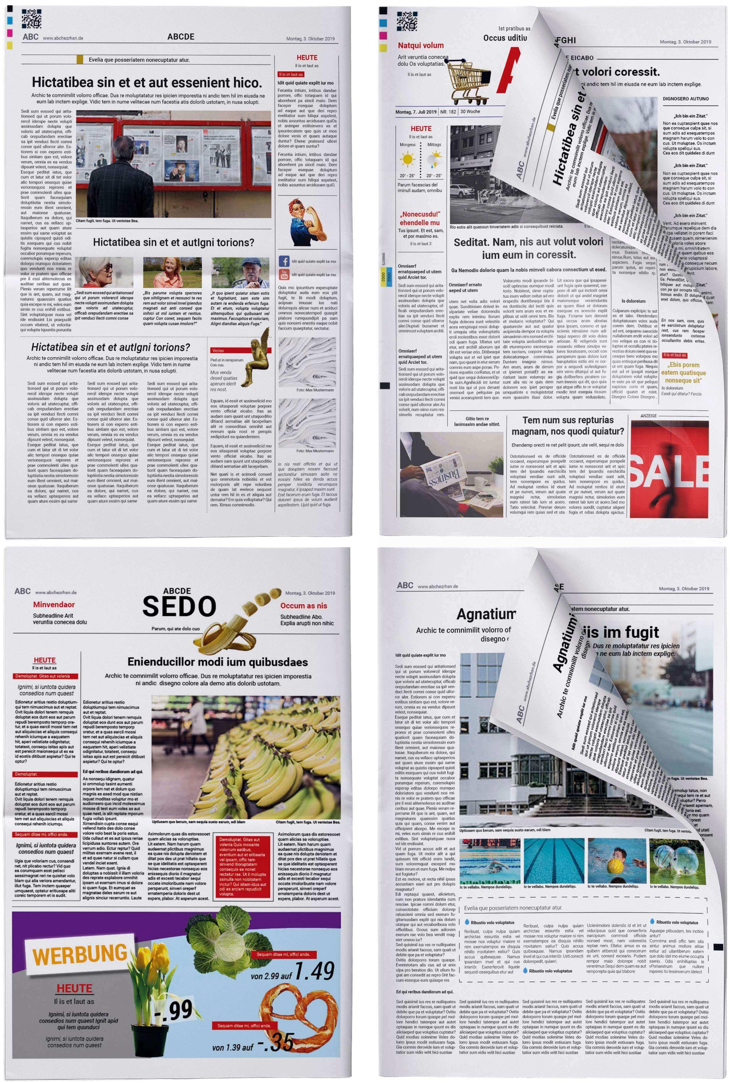 Beispielhafter Aufbau einer Fake Zeitung im Stil einer Tageszeitung