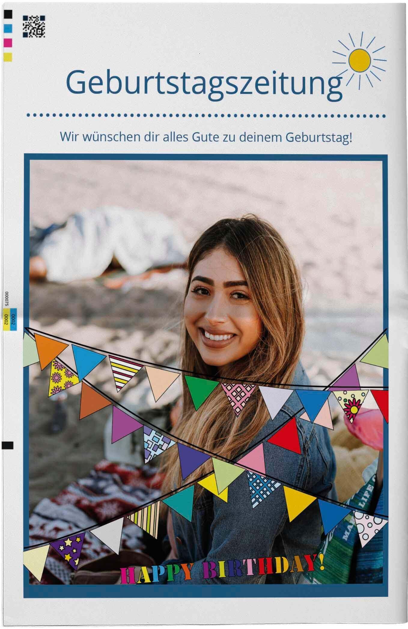 Vorlage für die Titelseite einer Geburtstagszeitung