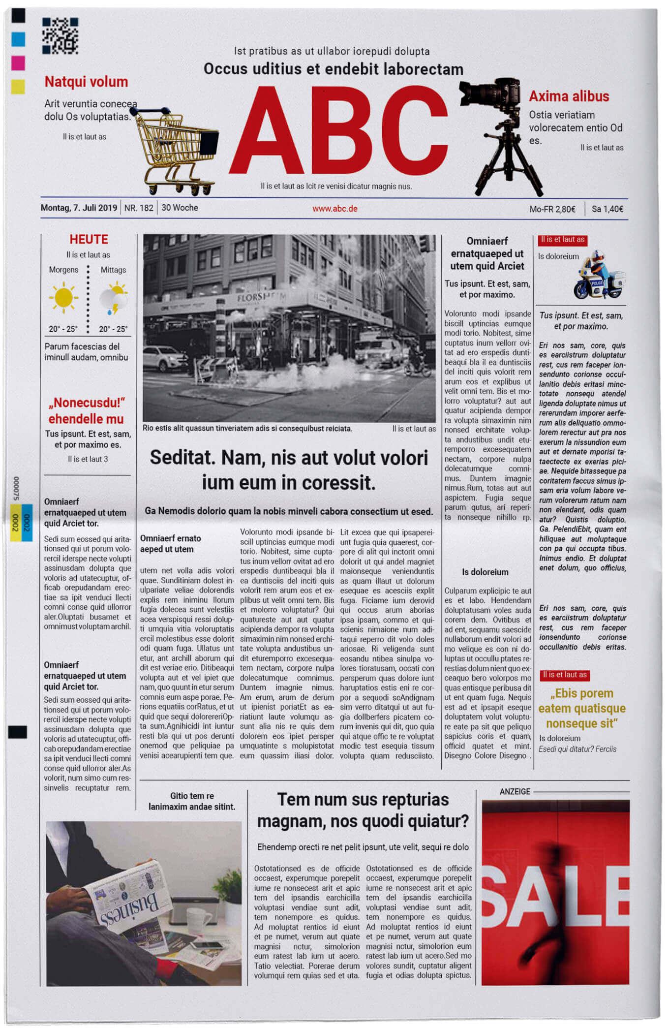 Vorlage für die Titelseite einer klassischen Tageszeitung