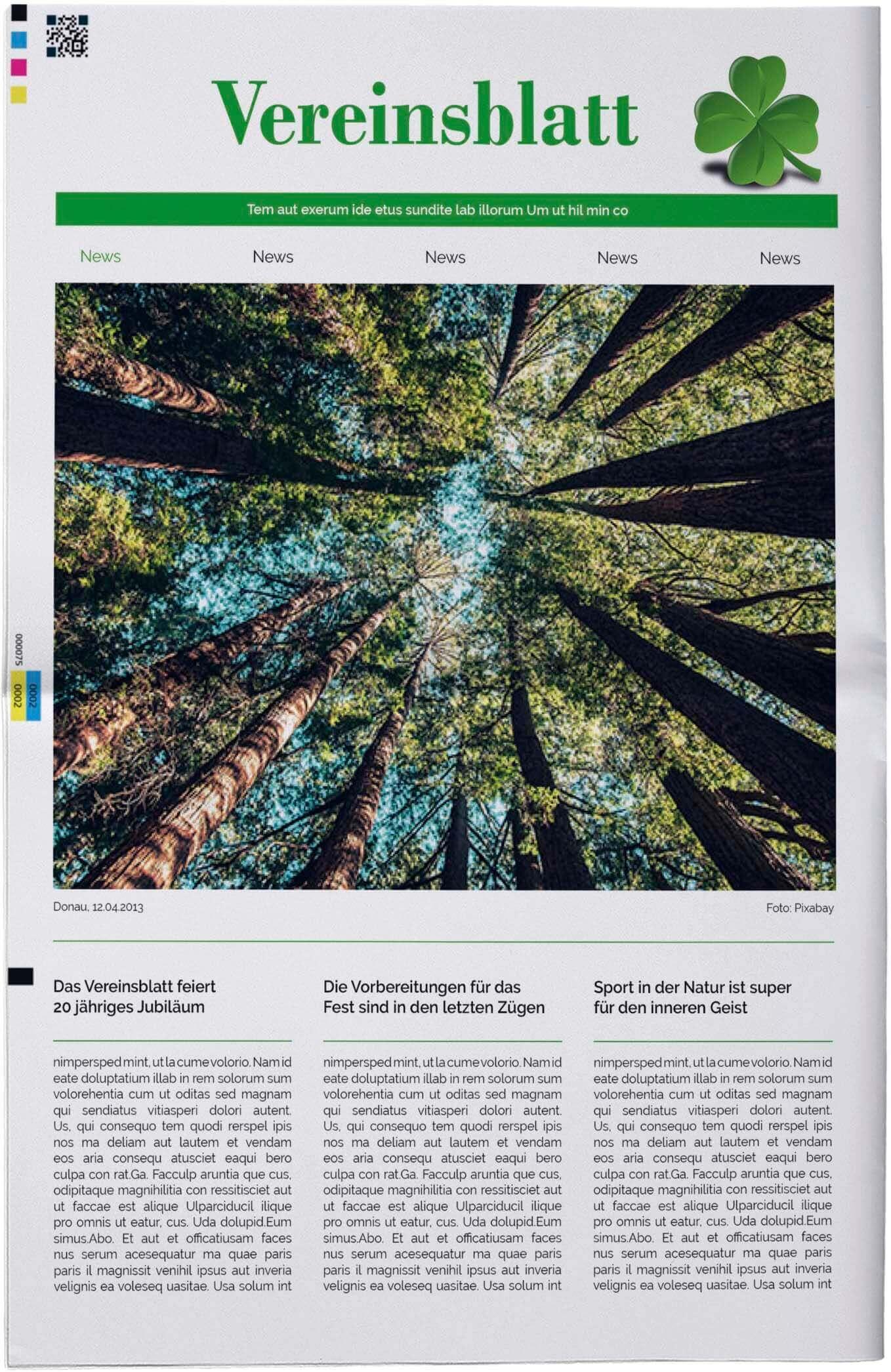 Vorlage für die Titelseite einer Vereinszeitung