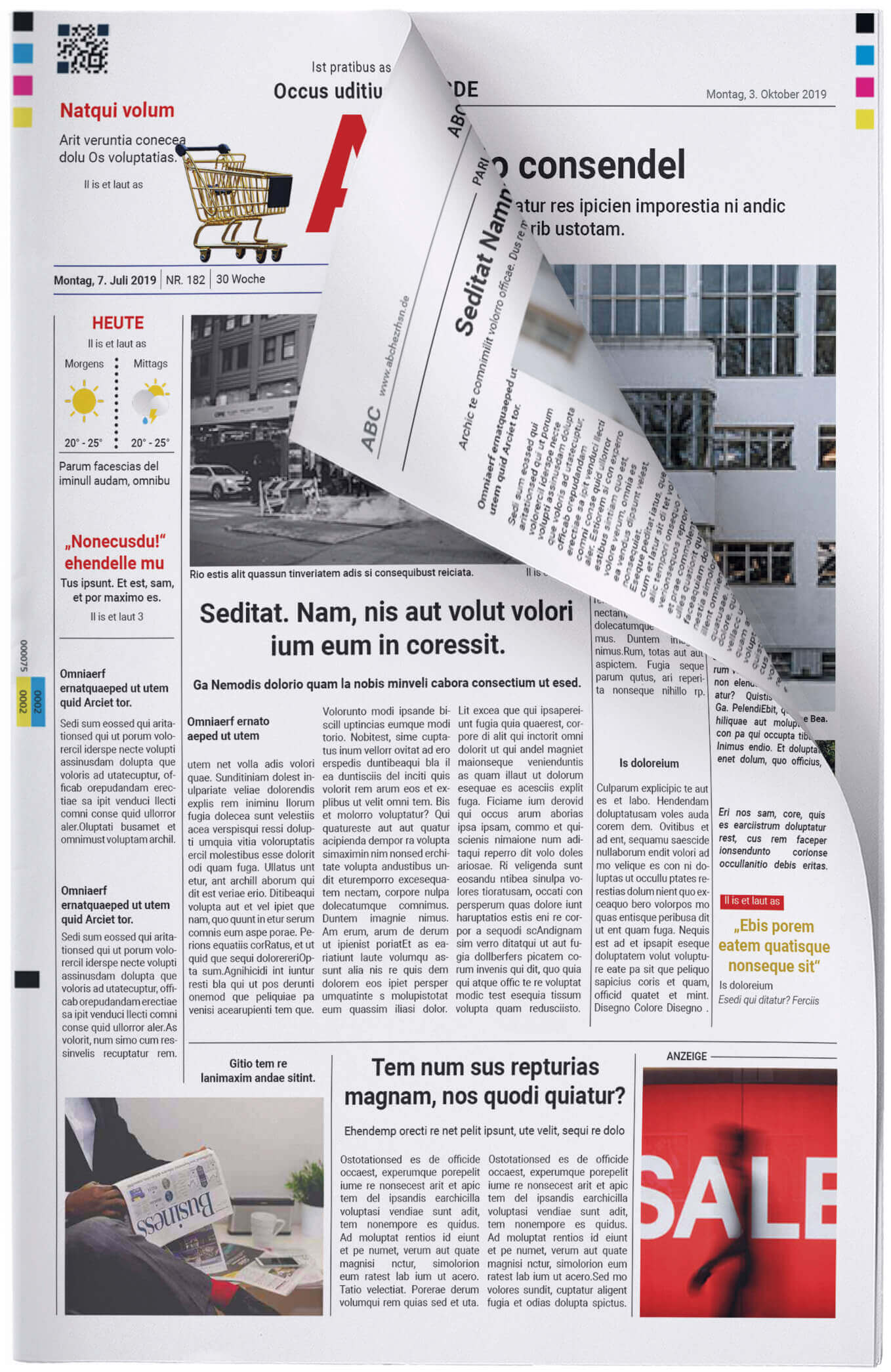 Vorlage für die Titelseite einer klassischen Zeitung