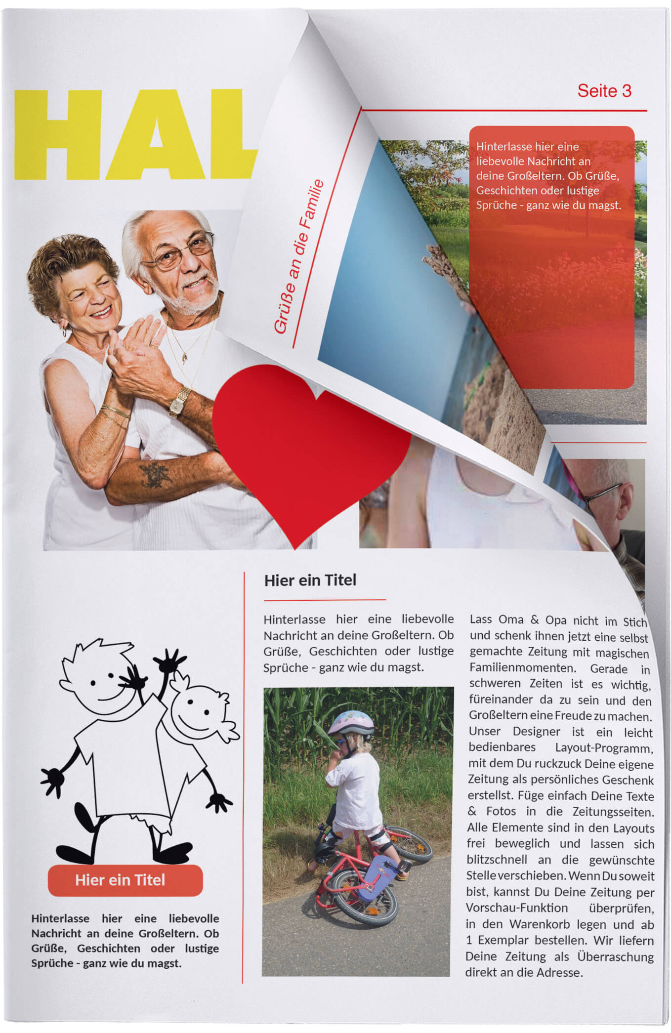Titelseite der Zeitungsvorlage für Oma und Opa