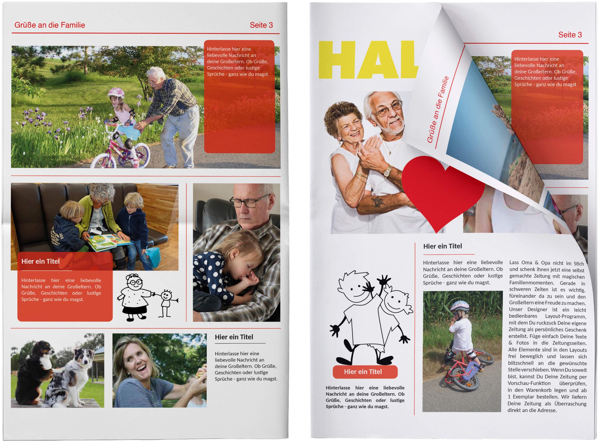 Echte Zeitung als Geschenk für Großeltern gestalten
