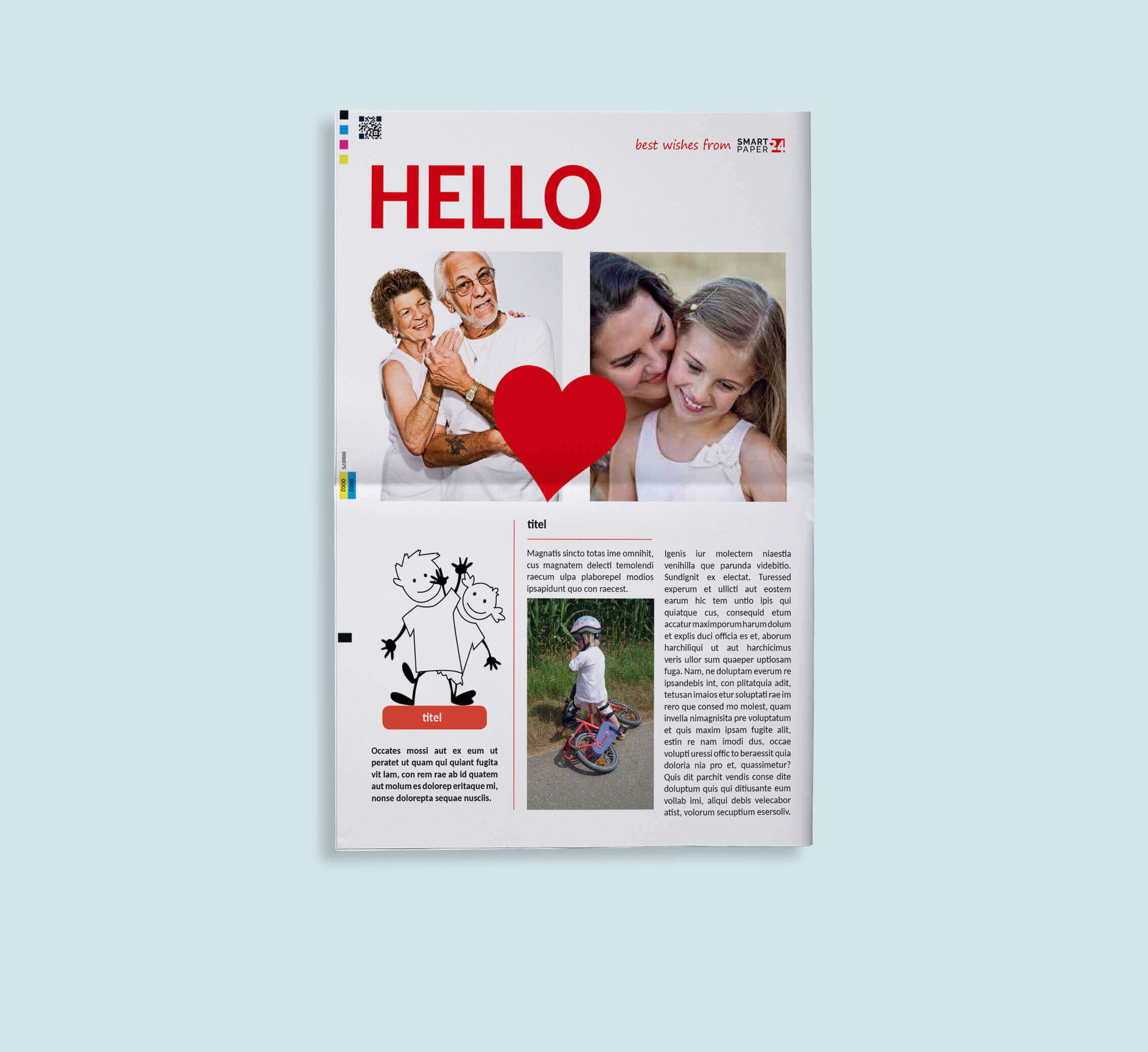 Design your individual newspaper as a gift for grandparents