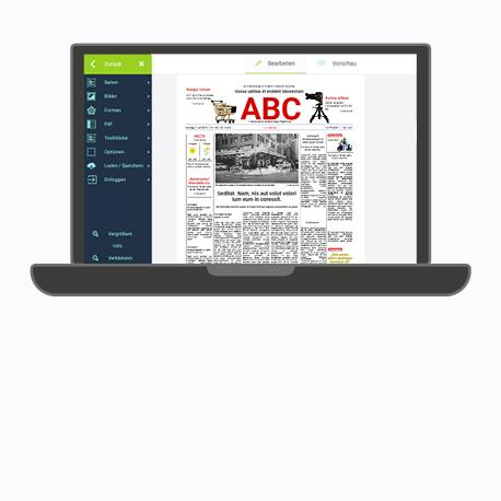Zeitung mit Vorlage im Online-Programm erstellen