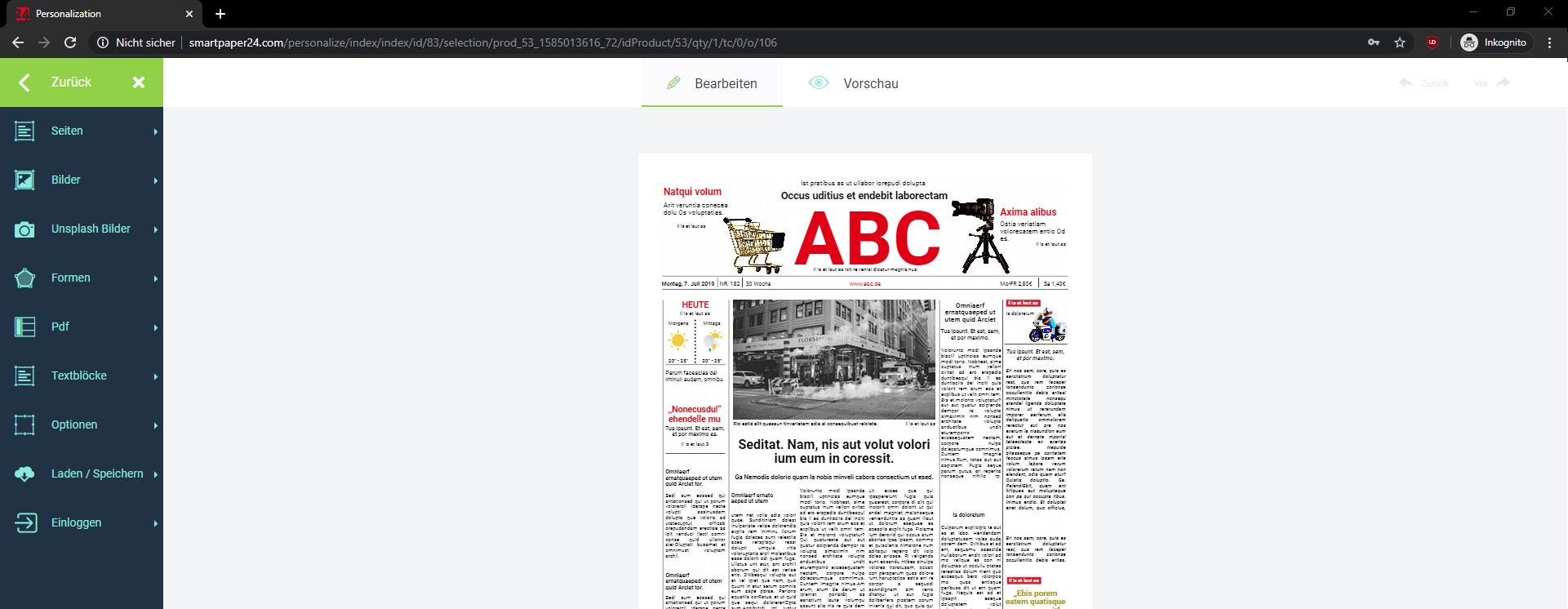 Zeitung Vorlagen
