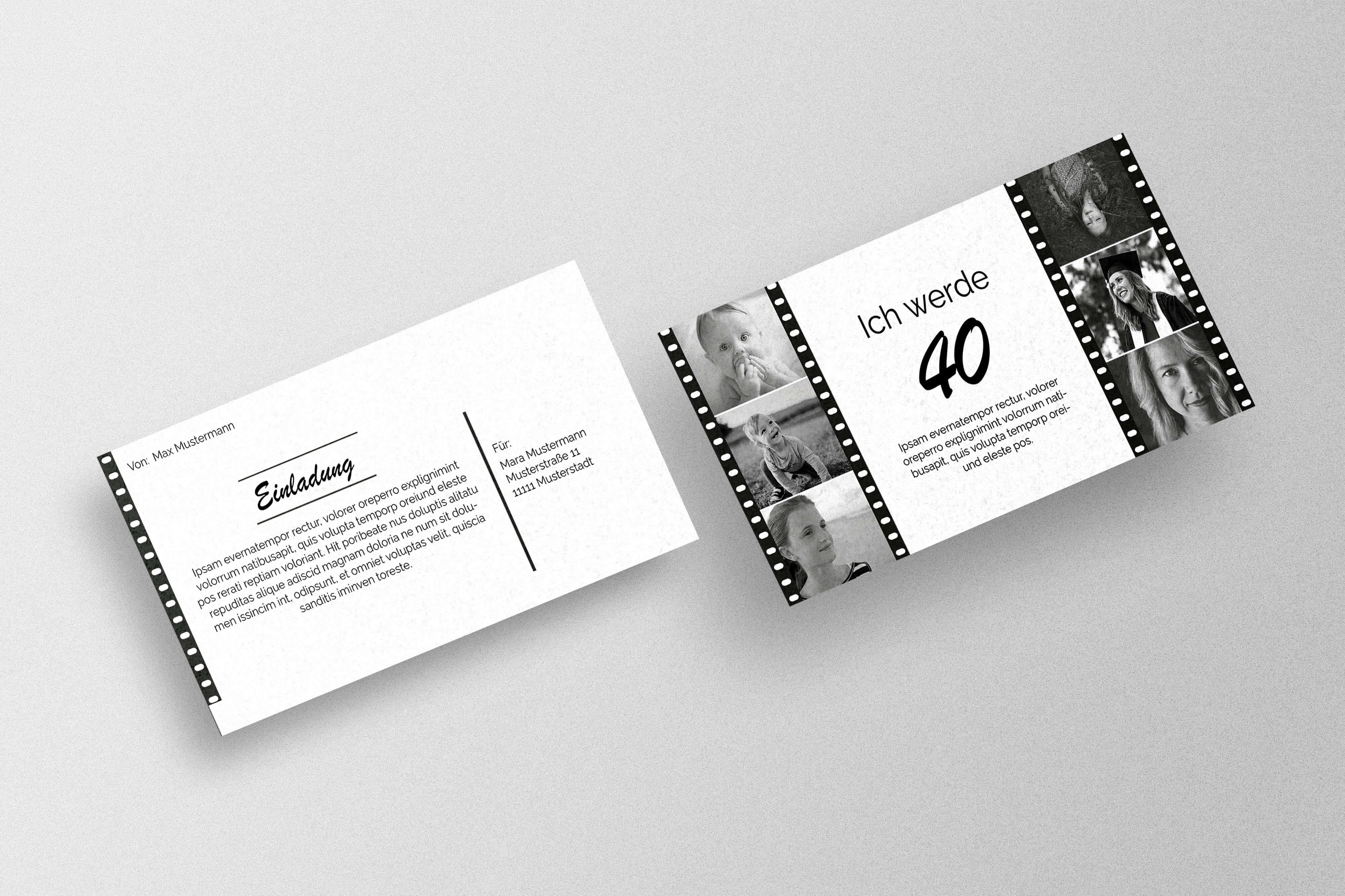 Einladungskarte zum 40. Geburtstag gestalten und drucken
