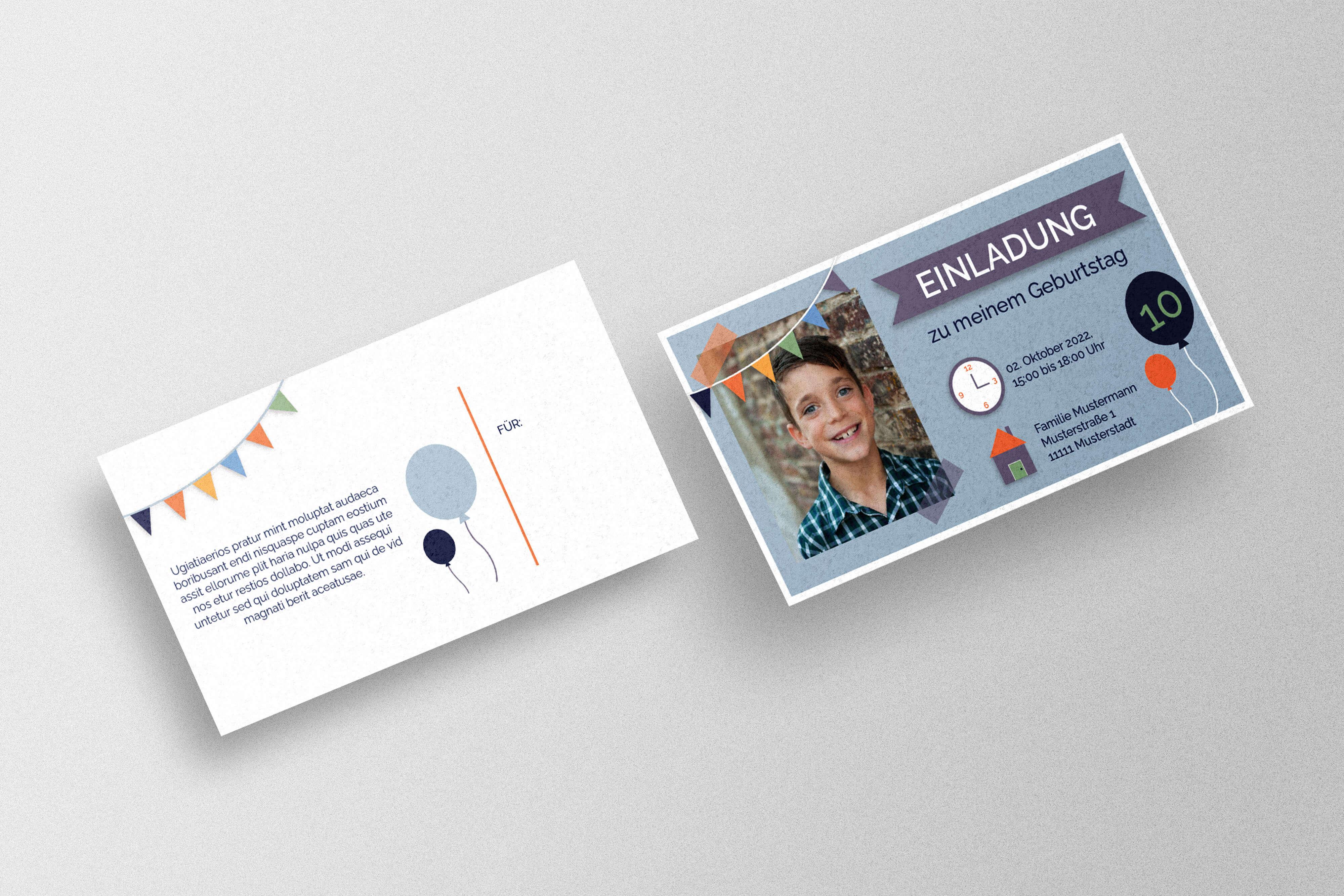 Einladungskarte zum Kindergeburtstag gestalten und drucken