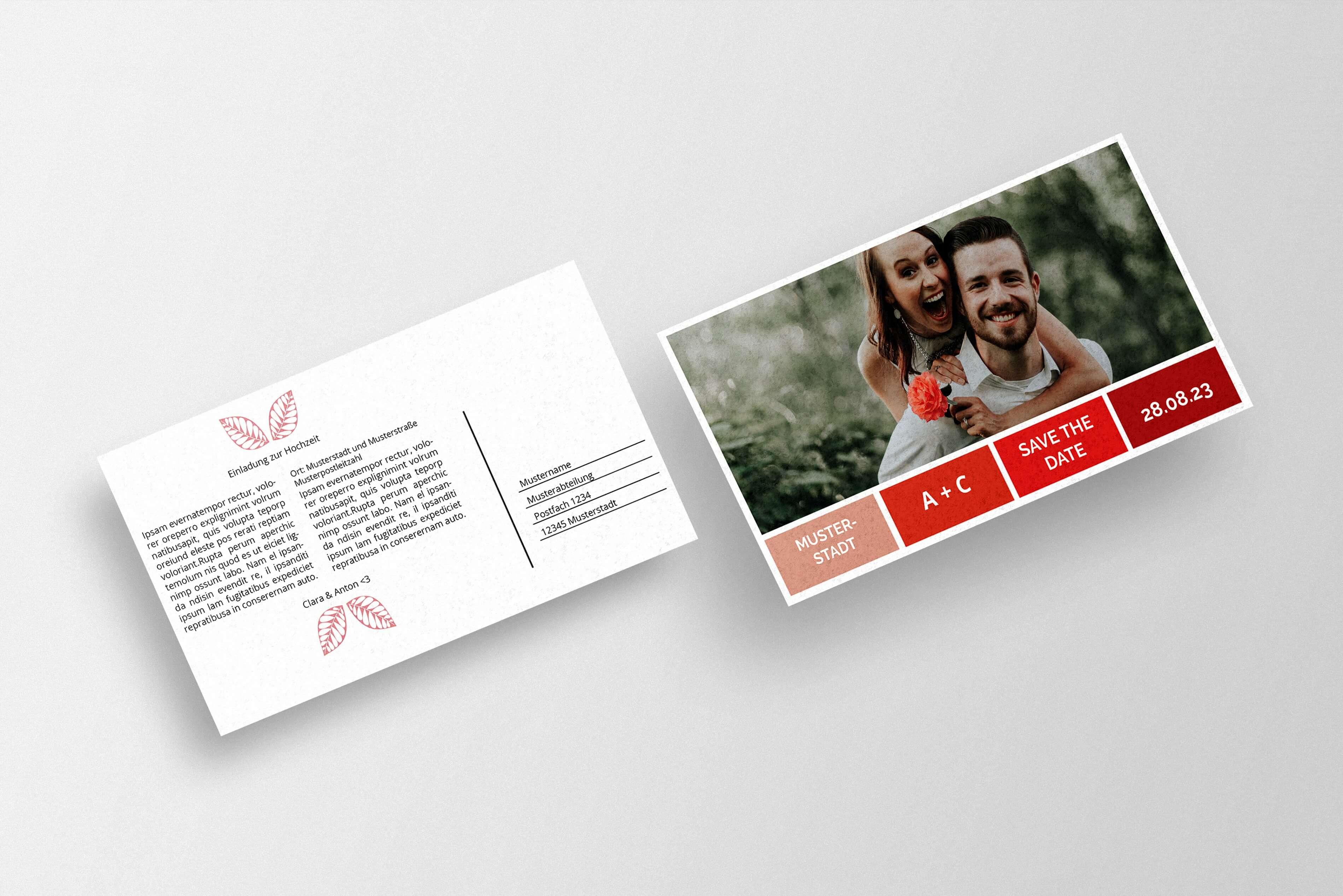 Save The Date-Karte zur Hochzeit erstellen und drucken