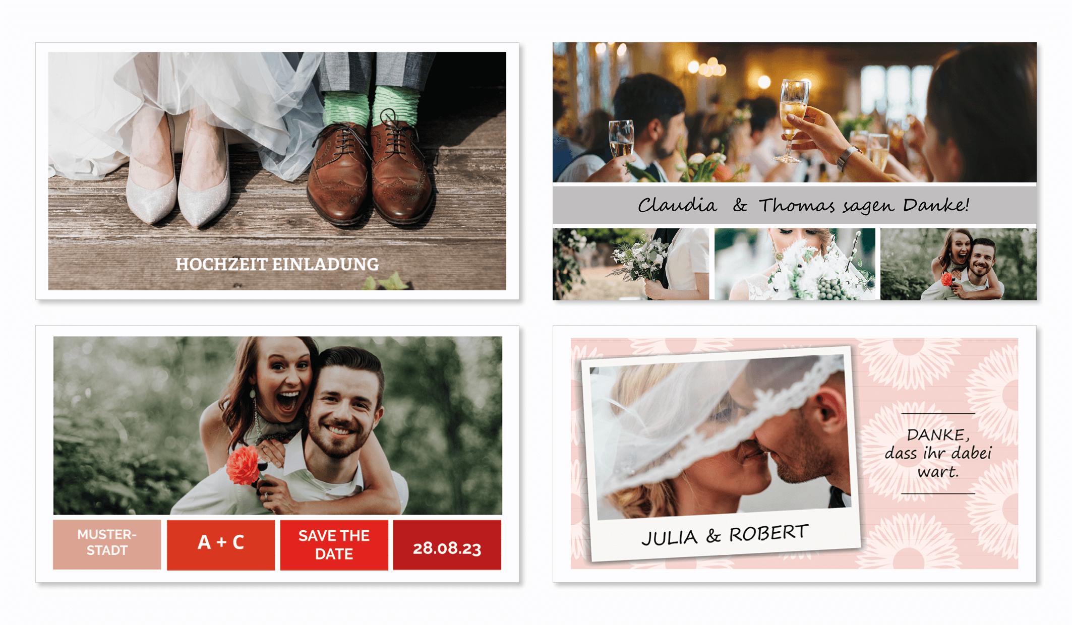 Hochzeitskarte mit Vorlage online gestalten und drucken