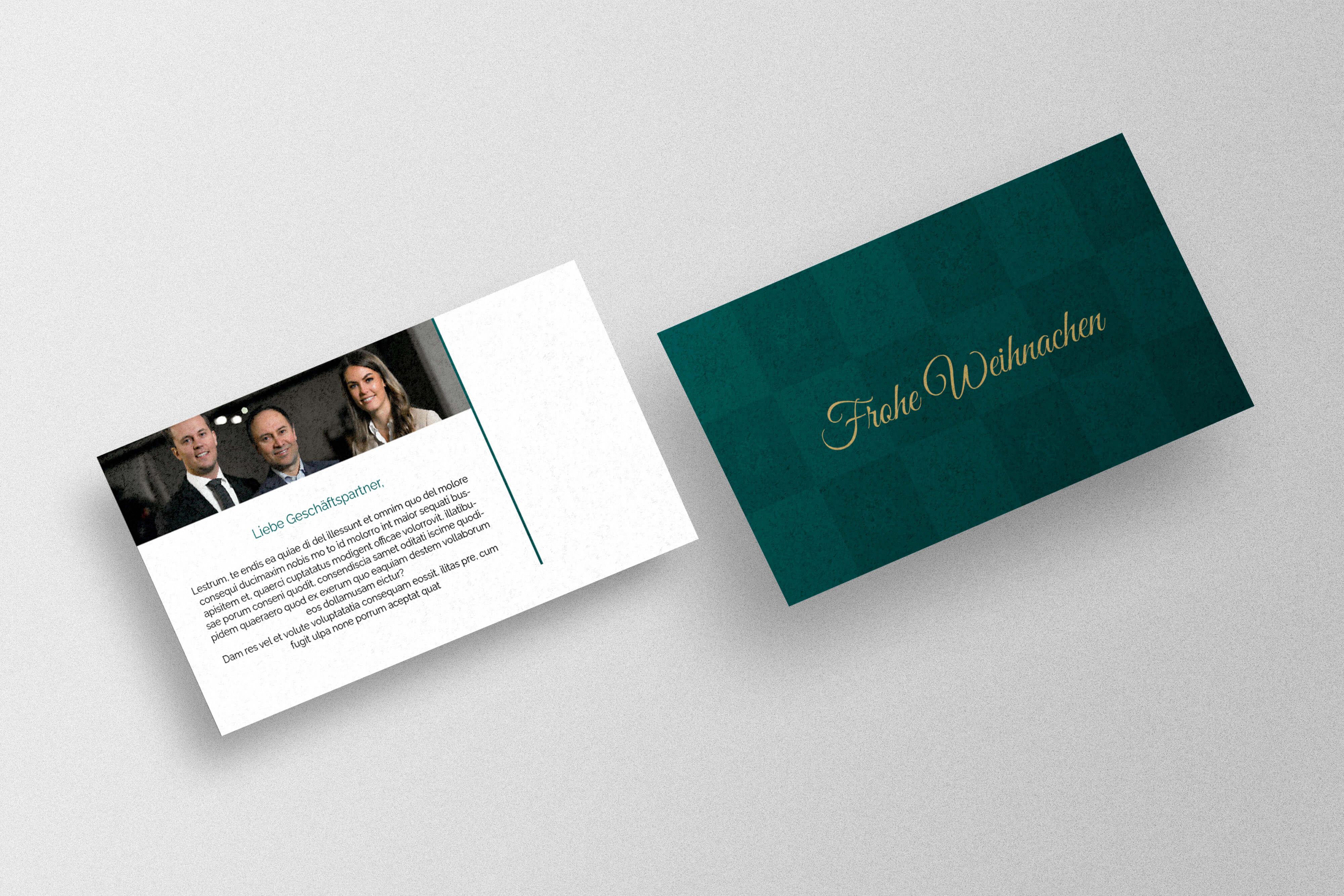 Geschäftliche Weihnachtskarte für Kunden und Mitarbeiter gestalten